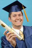 Proud graduate with diploma Royalty Free Stock Photography
