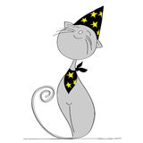 Proud grey cat dressed up for halloween party. Wearing black wizard hat with yellow stars and matching scarf - original hand drawn illustration Royalty Free Stock Photography