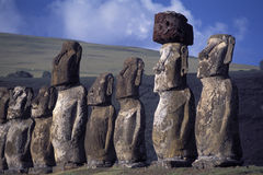 Proud guardians. Easter Island (Rapa Nui) Ahu Tonhariki site - Chili Royalty Free Stock Images