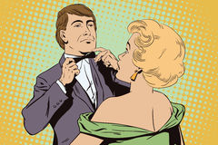 Proud guy adjusting his bow-tie. Girl terrified by this. Stock illustration. People in retro style pop art and vintage advertising. Proud guy adjusting his bow royalty free illustration