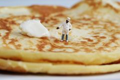 Proud of his pancakes Stock Photography