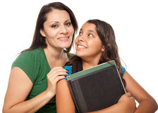Proud Hispanic Mother & Daughter Ready for School Royalty Free Stock Photo