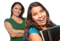 Proud Hispanic Mother & Daughter Ready for School Royalty Free Stock Photography