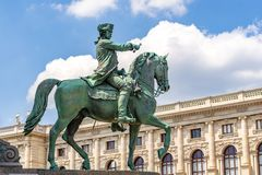 Proud horseman , Queen Marie-Therese bodyguard. In front of Fine Arts Museum at Vienna, sculpture of a proud soldier, protector of Queen Marie-Therese stock photography
