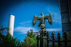Proud icon on iron fence at Old Louisiana State Capitol Stock Photos