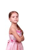 Proud little lady in a pink dress Royalty Free Stock Photo