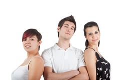 A proud man between two women Royalty Free Stock Images