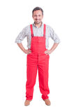 Proud mechanic, electrician or plumber. Standing isolated on white Royalty Free Stock Photos