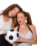 Proud mom and soccer player daughter Stock Images
