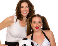 Proud mom and soccer player daughter Royalty Free Stock Photo