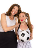 Proud mom and soccer player daughter Royalty Free Stock Images