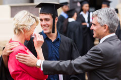 Proud mother graduation. Proud mother with tears of joy at her son's graduation Stock Image