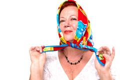 Proud of my colorful Scarf Stock Photo