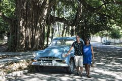 Proud owner of classical car in Havana, Cuba Royalty Free Stock Images