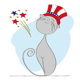 Proud patriotic cat dressed up for Independence Day celebration. With 4th of July fireworks - original hand drawn illustration Royalty Free Stock Image