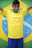 Proud Patriotic Young Brazilian Football Fan Holding Brazilian Flag Stock Images
