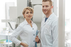 Proud physicians in working place Royalty Free Stock Photos