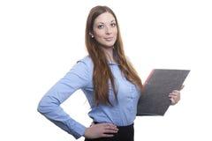 Proud posing busine lady with folder Stock Photos