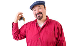 Proud privileged man holding a bunch of car keys Stock Photo