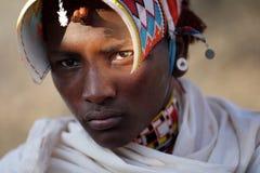 Proud Samburu warrior in Archers Post, Kenya. Stock Image
