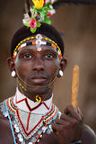 Proud Samburu warrior in South Horr, Kenya. Royalty Free Stock Image