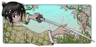 Proud Samurai Holding Blade. Infront of a sakura nature background Stock Photo