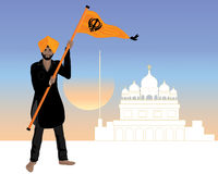 Proud sikh. An illustration of a proud sikh man. Dressed in a black salwar kameez with the sikh flag nishan sahib. In front of a white gurdwara at sunset Stock Photos