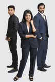 Proud smiling business people standing. On white background Stock Photography