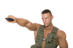 Proud soldier with gun. Royalty Free Stock Photography