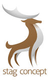 Proud stag or deer. Conceptual design of a stylised proud stag or deer with large antlers vector illustration
