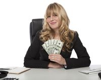 Proud successful businesswoman with dollars Stock Photos