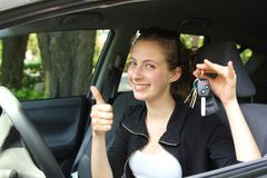 Proud teen driver Stock Images
