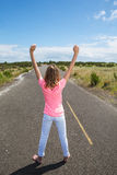 A proud teen on an quiet road Royalty Free Stock Image