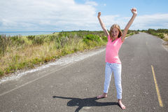 A proud teen on an quiet road Royalty Free Stock Photos