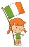 Proud to be Irish Girl. Little girl holding an Irish flag Royalty Free Stock Photo