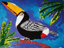 Proud toucan painted by child. Gouache painting of a tropical bird - toucan - made by child royalty free illustration