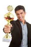 Proud of trophy Royalty Free Stock Image