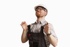 Proud. Very Proud Man in Construction Site Clothes royalty free stock photo