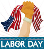 Proud Worker Fist with American Flag Celebrating Labor Day, Vector Illustration Stock Images