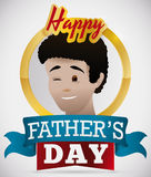 Proud Young Brunette Dad Celebrating Father`s Day, Vector Illustration Royalty Free Stock Photo