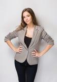 Proud young brunette woman. Portrait of beautiful proud young brunette woman Royalty Free Stock Images
