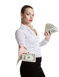 Proud young business woman take all money Royalty Free Stock Photo