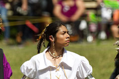 Proud young Native American man dancer at the 2017 Kahnawake Pow Wow-Stock photos stock images