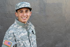 Proud young military school student with copy space Royalty Free Stock Photos