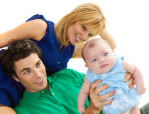 Proud Young Parents With Baby Girl Stock Image