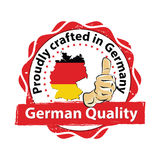 Proudly crafted in Germany, German quality. Stamp with Germany`s map and flag colors. Print colors used Royalty Free Stock Photography