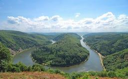 Proue de la Sarre, fleuve de la Sarre, Allemagne Photos stock