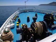 Proue et trains de bateau Photographie stock