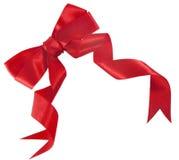 Proue rouge de cadeau de satin photographie stock
