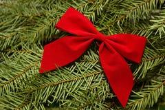 Proue rouge sur le fond toujours d'actualité d'arbre de Noël photo libre de droits